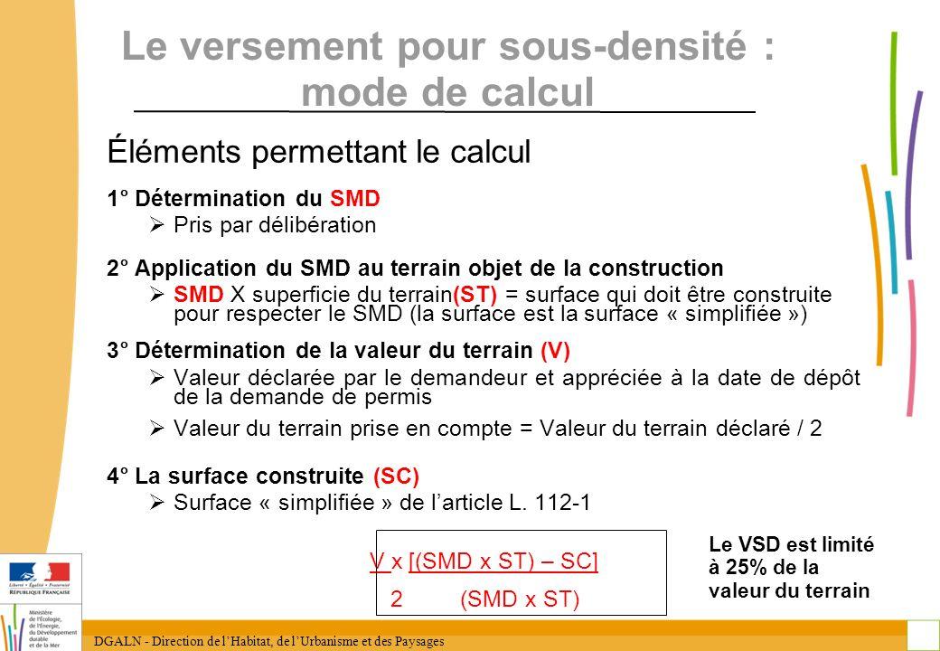 DGALN - Direction de lHabitat, de lUrbanisme et des Paysages 31 Le versement pour sous-densité : mode de calcul Éléments permettant le calcul 1° Déter