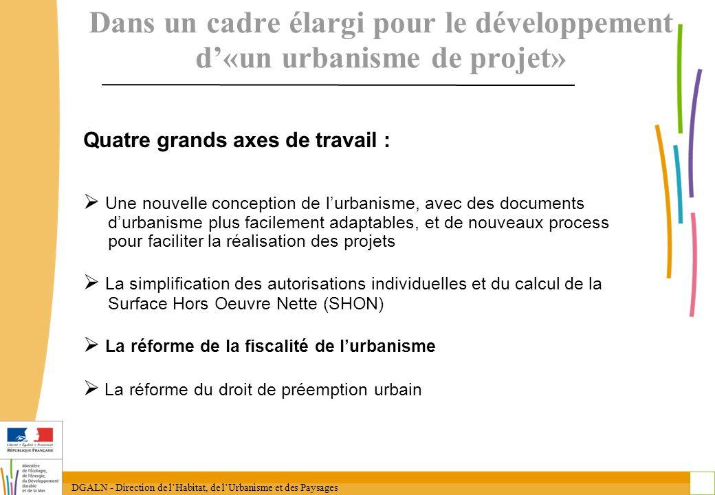 DGALN - Direction de lHabitat, de lUrbanisme et des Paysages 4 Dans un cadre élargi pour le développement d«un urbanisme de projet» Quatre grands axes