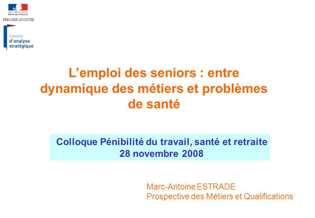 Lemploi des seniors : entre dynamique des métiers et problèmes de santé Colloque Pénibilité du travail, santé et retraite 28 novembre 2008 Marc-Antoin