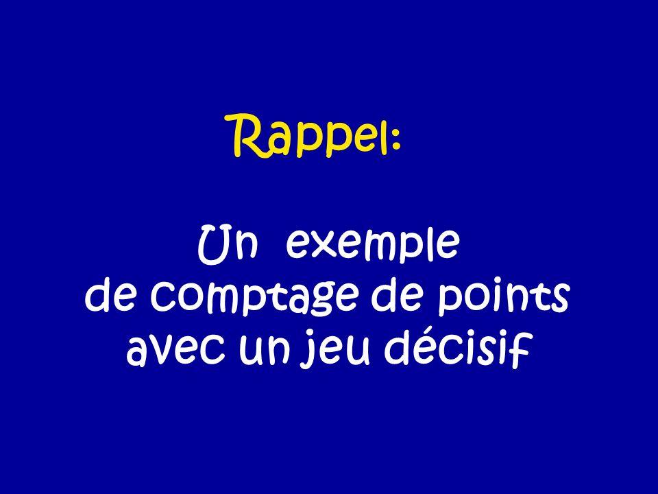 Un exemple de comptage de points avec un jeu décisif Rapp el: