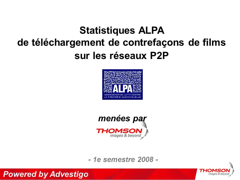 Powered by Advestigo Statistiques ALPA de téléchargement de contrefaçons de films sur les réseaux P2P menées par - 1e semestre 2008 -