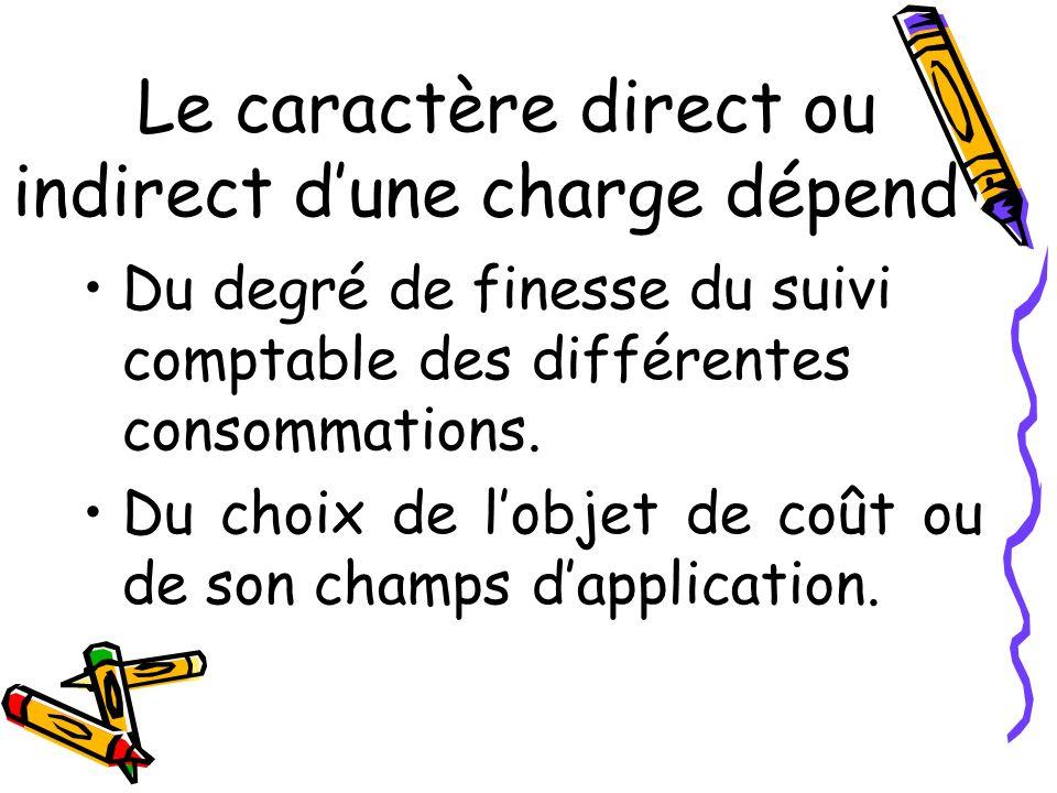 Le caractère direct ou indirect dune charge dépend : Du degré de finesse du suivi comptable des différentes consommations. Du choix de lobjet de coût