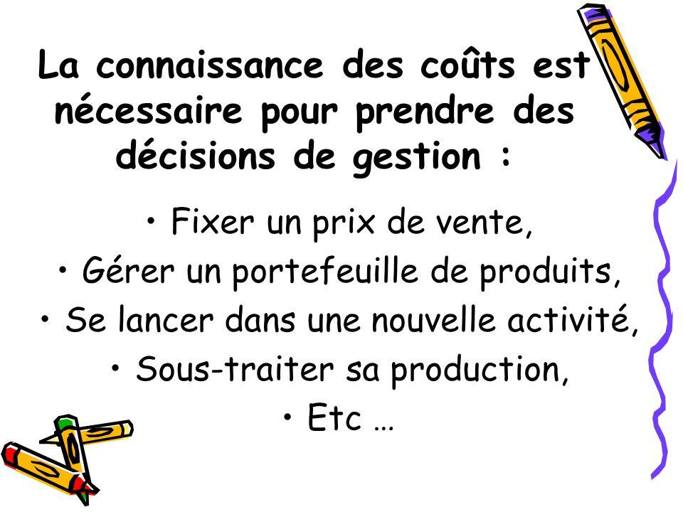 La connaissance des coûts est nécessaire pour prendre des décisions de gestion : Fixer un prix de vente, Gérer un portefeuille de produits, Se lancer