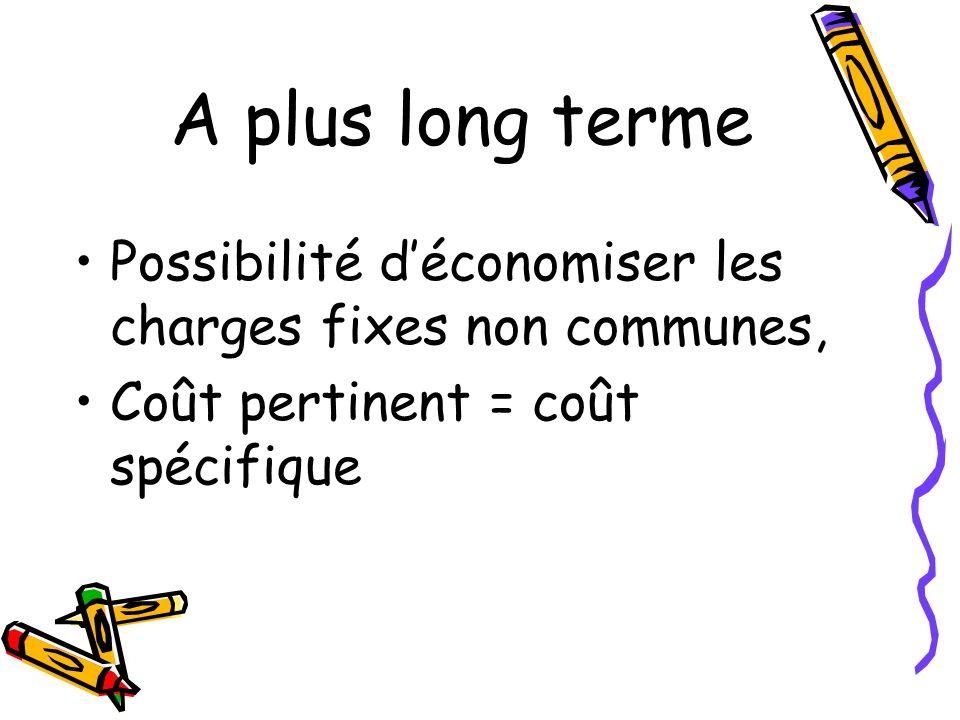 A plus long terme Possibilité déconomiser les charges fixes non communes, Coût pertinent = coût spécifique