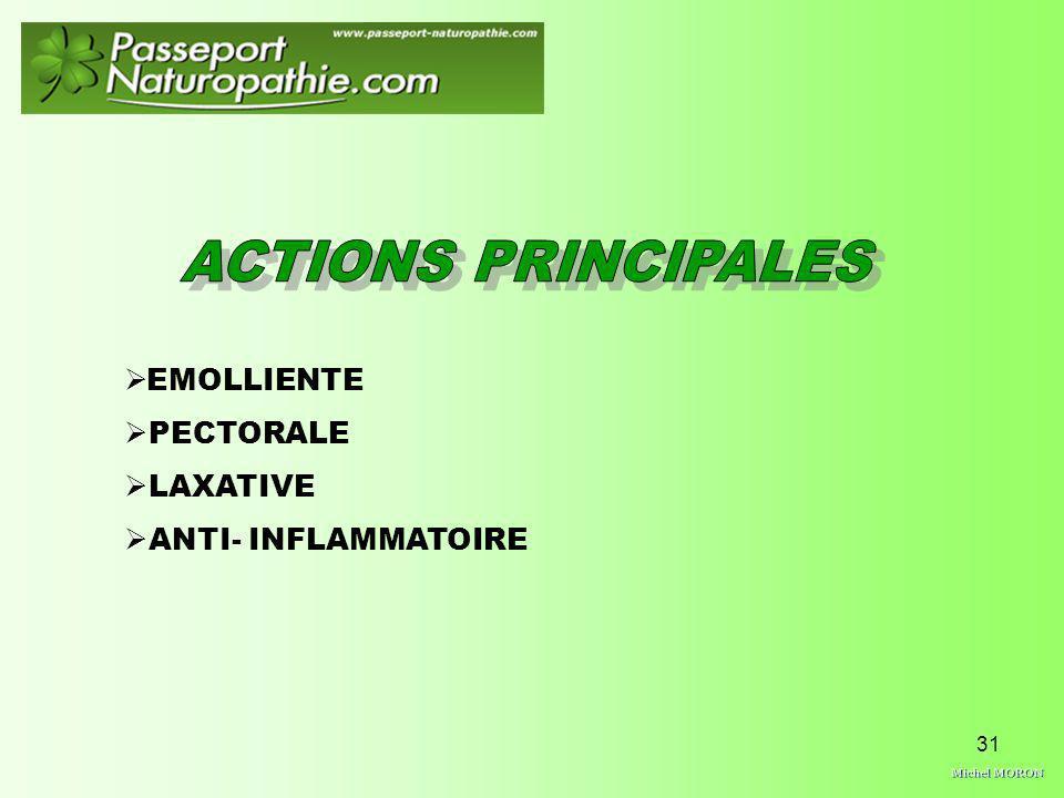 31 EMOLLIENTE PECTORALE LAXATIVE ANTI- INFLAMMATOIRE