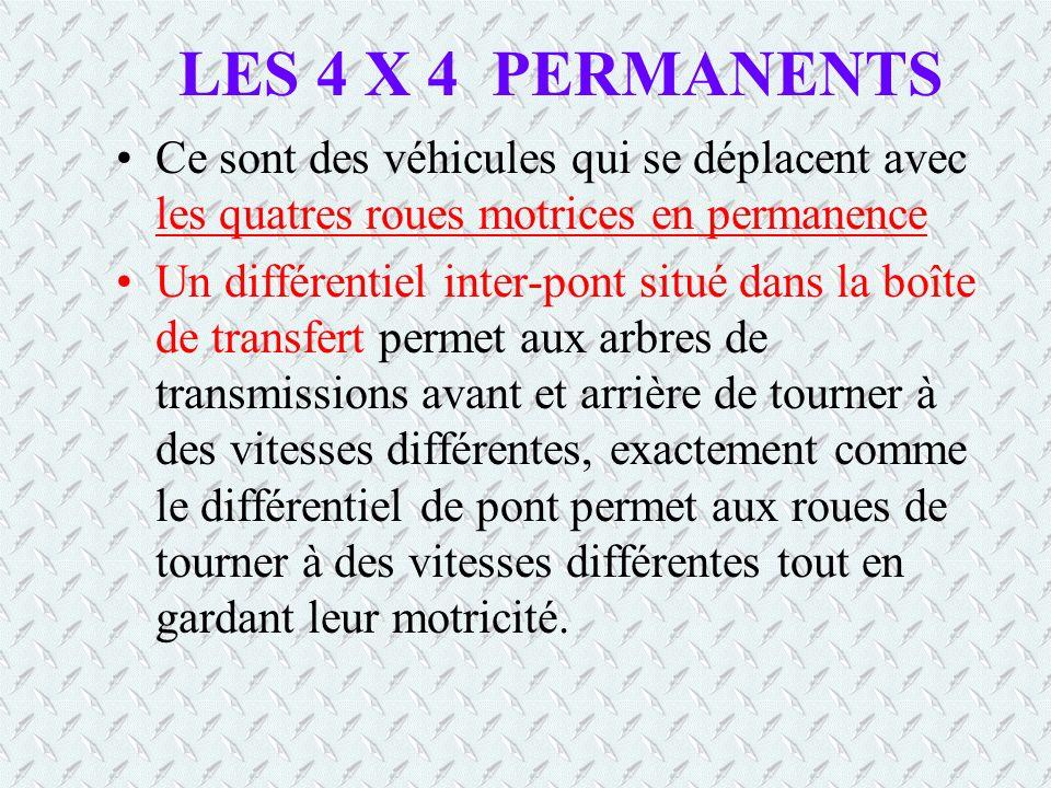 LES 4 X 4 PERMANENTS Ce sont des véhicules qui se déplacent avec les quatres roues motrices en permanence Un différentiel inter-pont situé dans la boîte de transfert permet aux arbres de transmissions avant et arrière de tourner à des vitesses différentes, exactement comme le différentiel de pont permet aux roues de tourner à des vitesses différentes tout en gardant leur motricité.