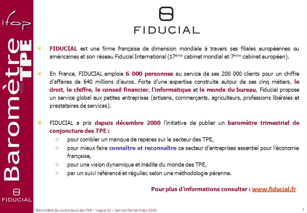 Sujets dactualité www.ifop.com www.fiducial.fr janvier – février – mars 2009 Réalisée du 29 janvier au 12 février 2009 Vague 33