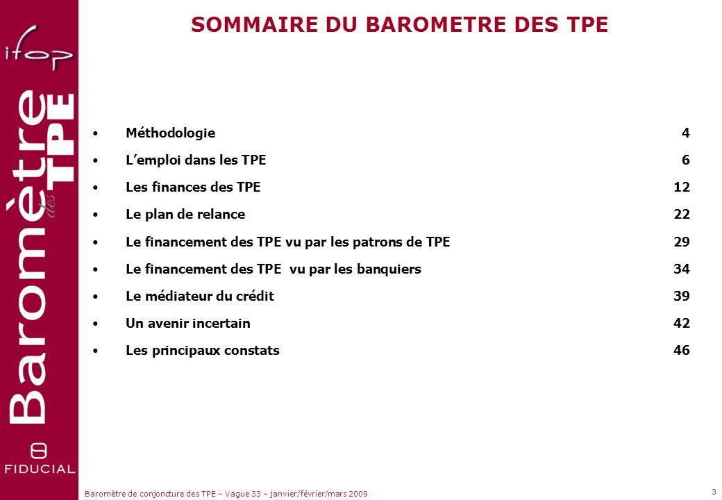 Sujets dactualité Baromètre de conjoncture des TPE – Vague 33 – janvier/février/mars 2009 2 97% TPE de 0 à 19 salariés % de l'emploi en France 37% 3%