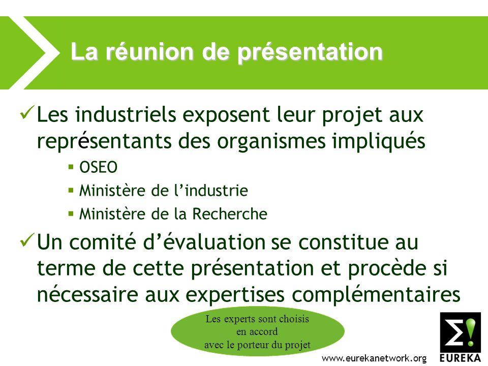 www.eurekanetwork.org La réunion de présentation Les industriels exposent leur projet aux représentants des organismes impliqués OSEO Ministère de lin