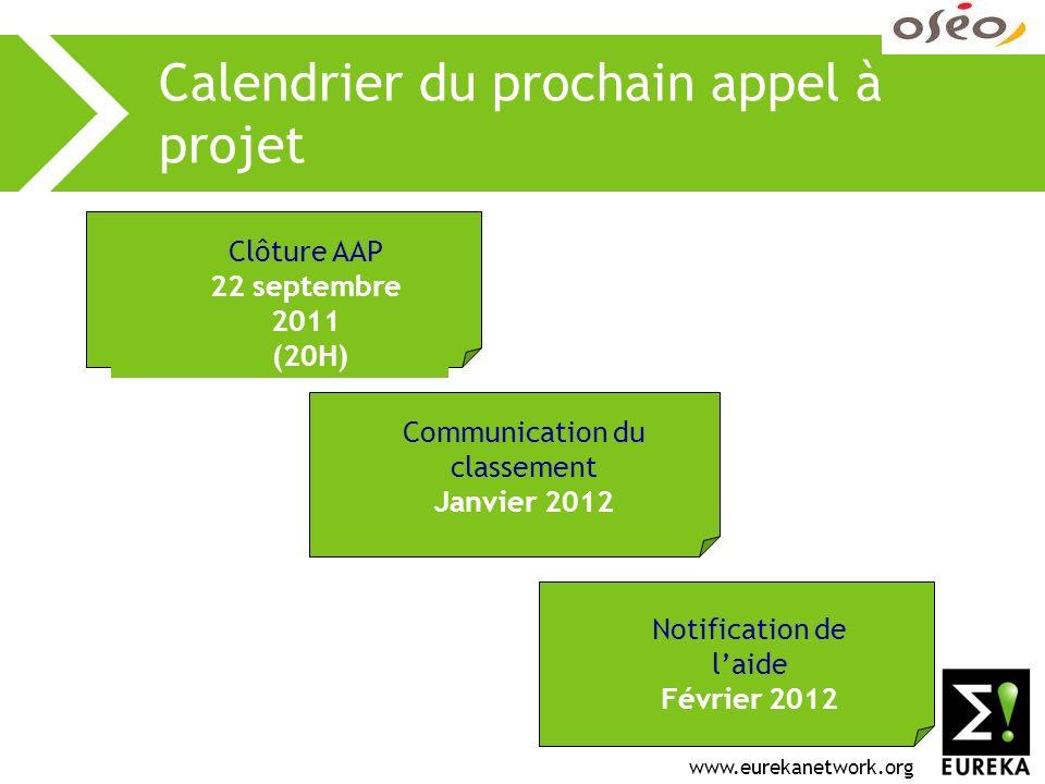 www.eurekanetwork.org Calendrier du prochain appel à projet Clôture AAP 22 septembre 2011 (20H) Communication du classement Janvier 2012 Notification