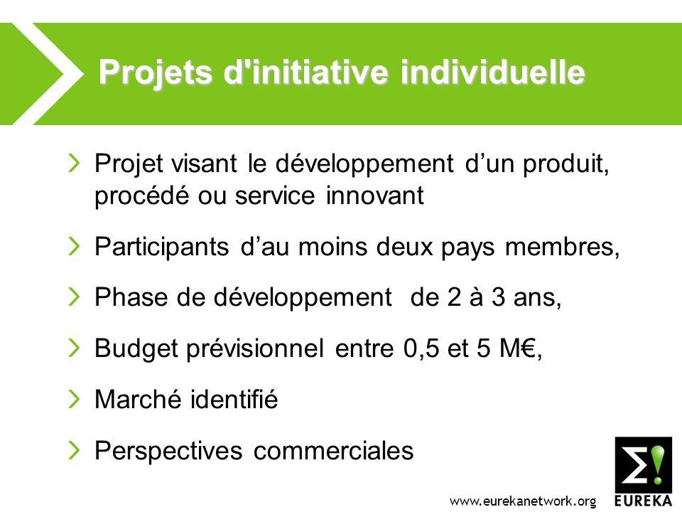 www.eurekanetwork.org Projets d'initiative individuelle Projet visant le développement dun produit, procédé ou service innovant Participants dau moins
