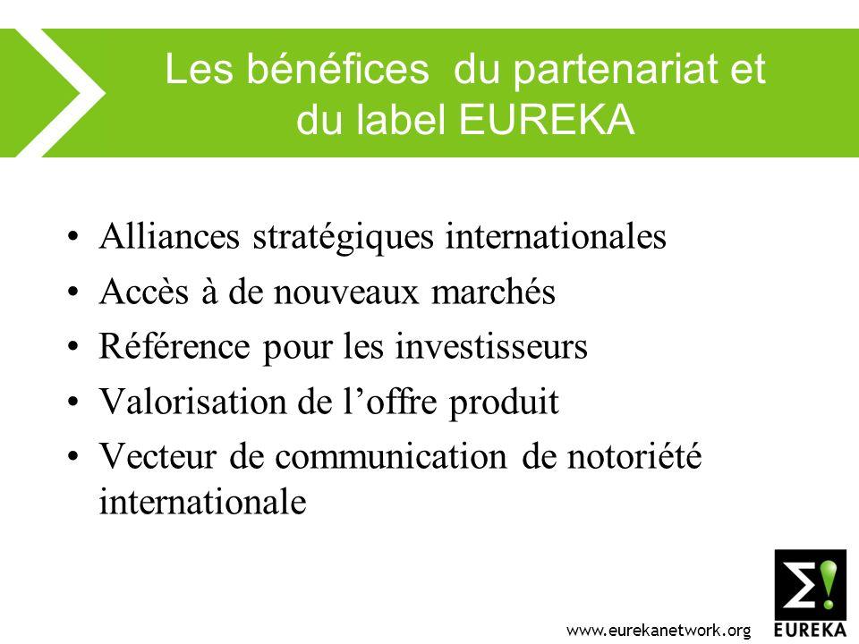www.eurekanetwork.org Les bénéfices du partenariat et du label EUREKA Alliances stratégiques internationales Accès à de nouveaux marchés Référence pour les investisseurs Valorisation de loffre produit Vecteur de communication de notoriété internationale