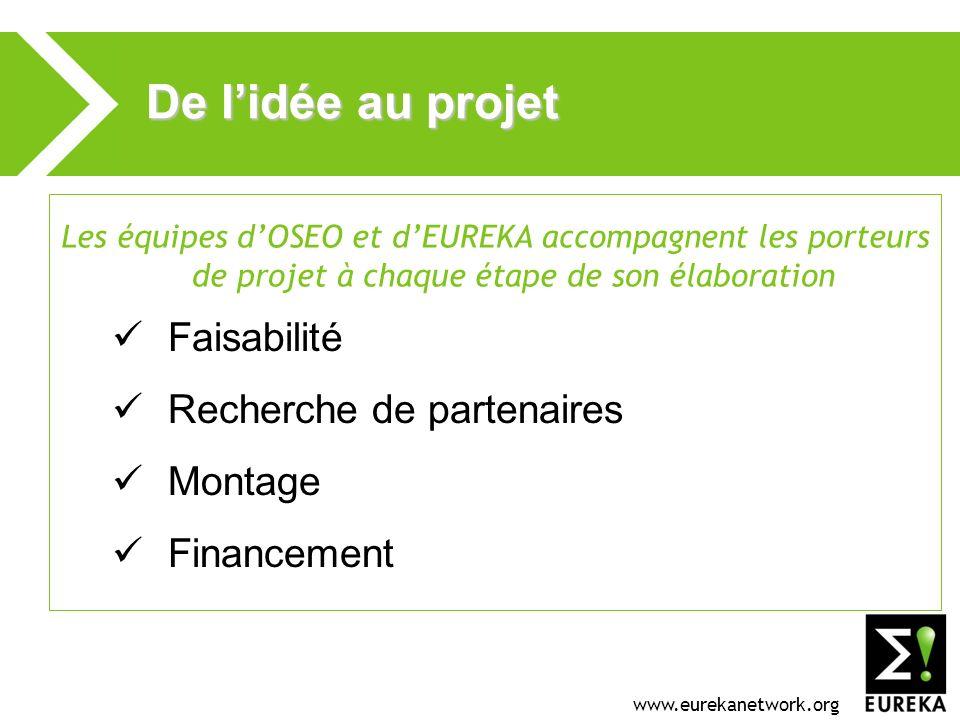 www.eurekanetwork.org De lidée au projet Les équipes dOSEO et dEUREKA accompagnent les porteurs de projet à chaque étape de son élaboration Faisabilité Recherche de partenaires Montage Financement