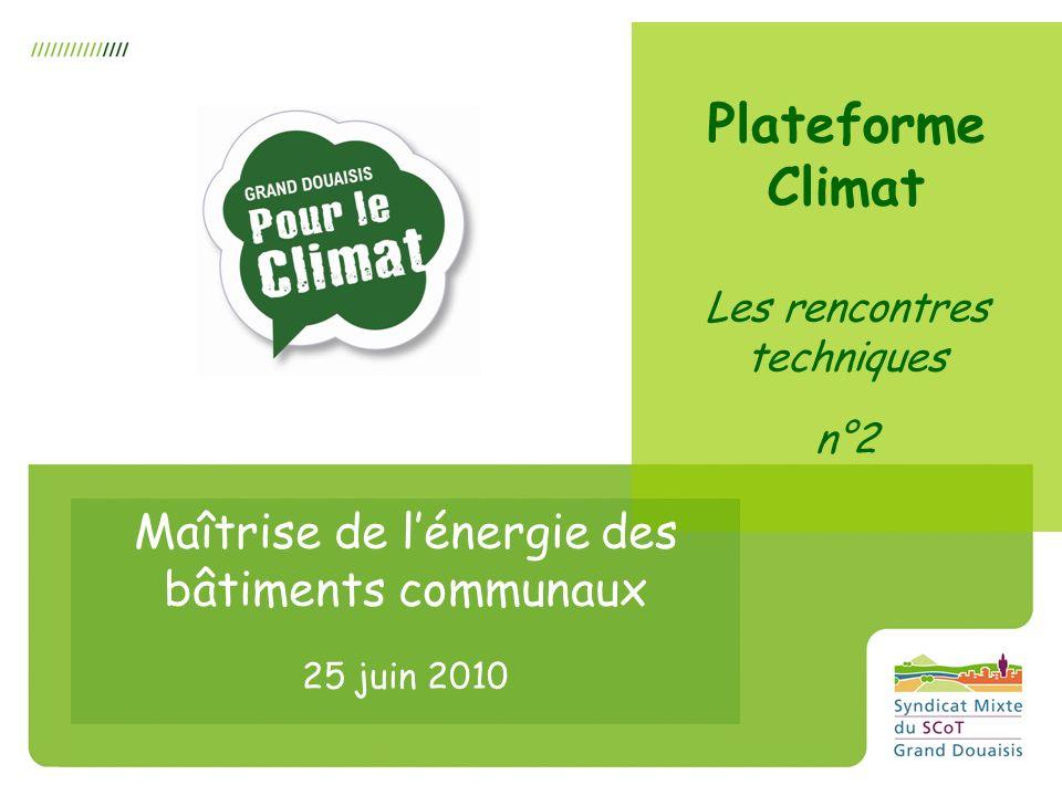 Plateforme Climat Les rencontres techniques n°2 Maîtrise de lénergie des bâtiments communaux 25 juin 2010