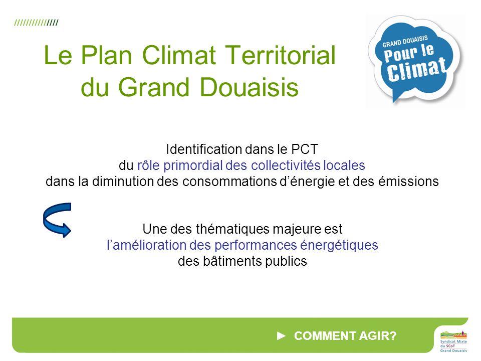 Identification dans le PCT du rôle primordial des collectivités locales dans la diminution des consommations dénergie et des émissions Une des thématiques majeure est lamélioration des performances énergétiques des bâtiments publics COMMENT AGIR.