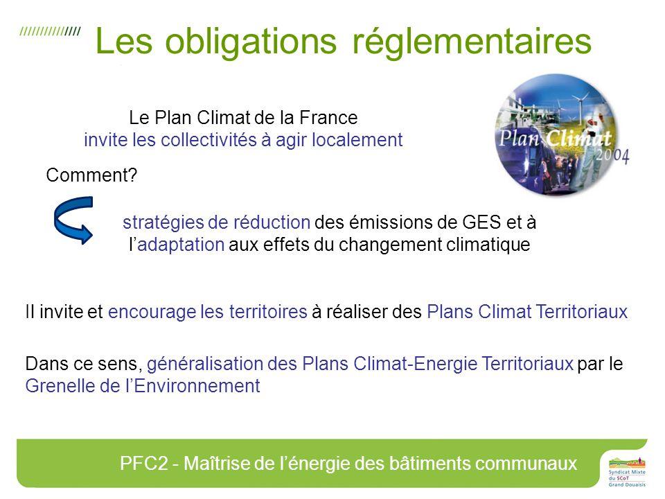 Les obligations réglementaires Le Plan Climat de la France invite les collectivités à agir localement Il invite et encourage les territoires à réaliser des Plans Climat Territoriaux Dans ce sens, généralisation des Plans Climat-Energie Territoriaux par le Grenelle de lEnvironnement stratégies de réduction des émissions de GES et à ladaptation aux effets du changement climatique PFC2 - Maîtrise de lénergie des bâtiments communaux Comment?