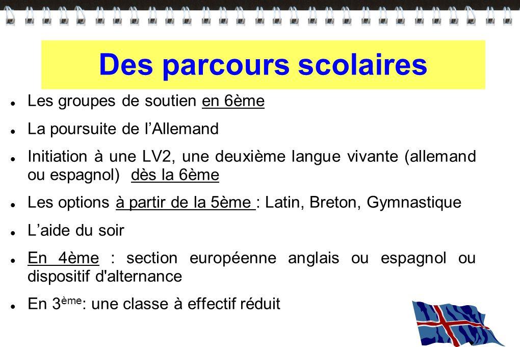 Des parcours scolaires Les groupes de soutien en 6ème La poursuite de lAllemand Initiation à une LV2, une deuxième langue vivante (allemand ou espagno