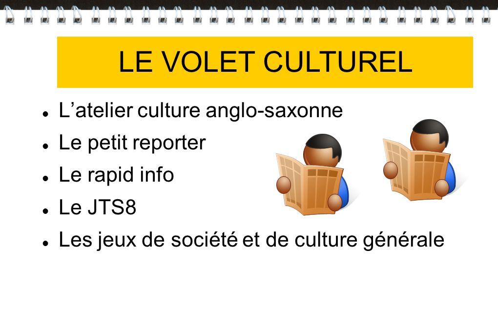 VOLET CULTUREL Latelier culture anglo-saxonne Le petit reporter Le rapid info Le JTS8 Les jeux de société et de culture générale LE VOLET CULTUREL