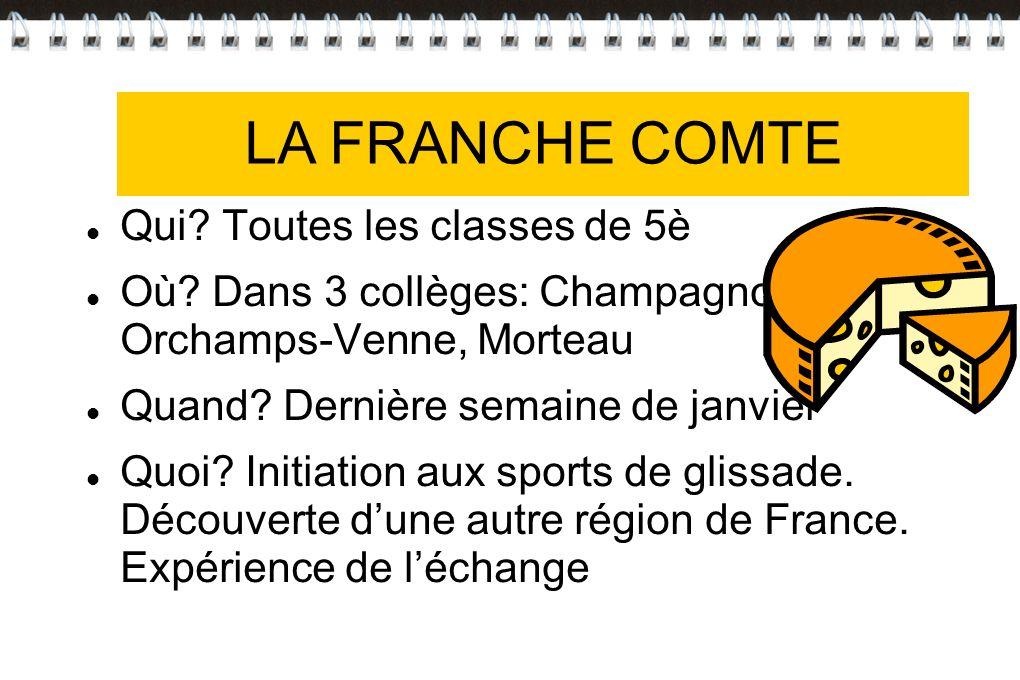 LA FRANCHE-COMTE Qui? Toutes les classes de 5è Où? Dans 3 collèges: Champagnole, Orchamps-Venne, Morteau Quand? Dernière semaine de janvier Quoi? Init