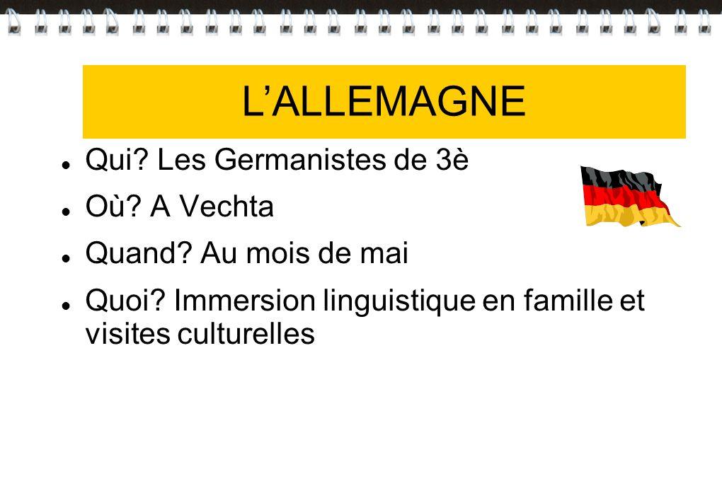 LALLEMAGNE Qui? Les Germanistes de 3è Où? A Vechta Quand? Au mois de mai Quoi? Immersion linguistique en famille et visites culturelles LALLEMAGNE