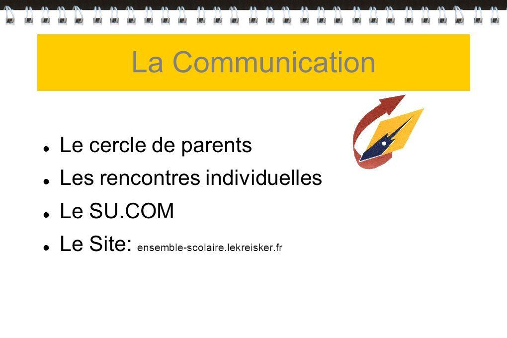La Communication Le cercle de parents Les rencontres individuelles Le SU.COM Le Site: ensemble-scolaire.lekreisker.fr