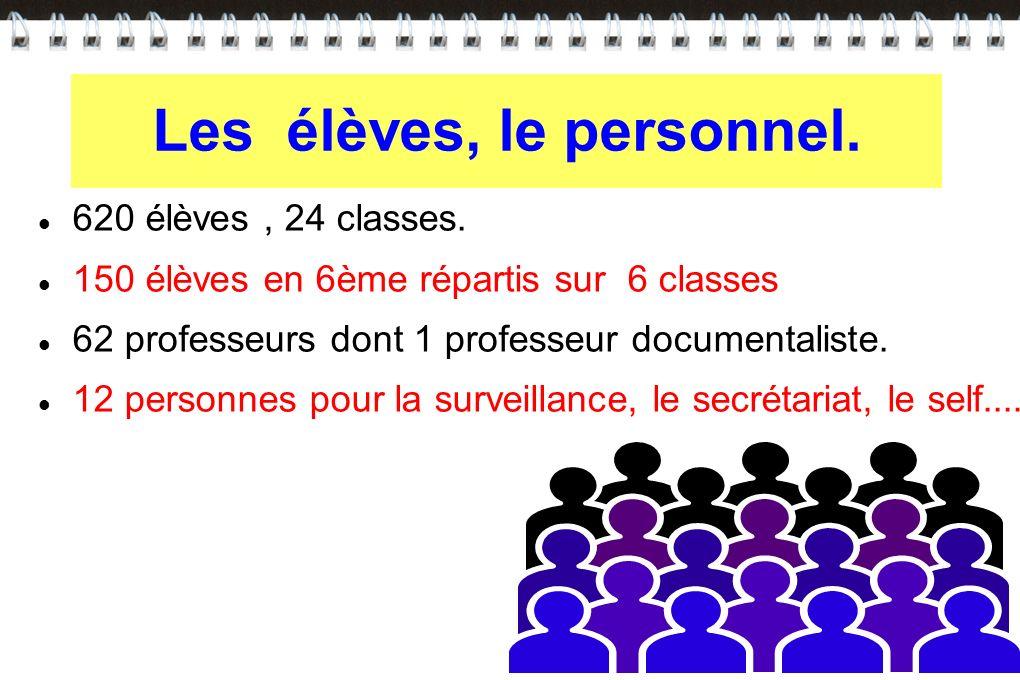 620 élèves, 24 classes. 150 élèves en 6ème répartis sur 6 classes 62 professeurs dont 1 professeur documentaliste. 12 personnes pour la surveillance,
