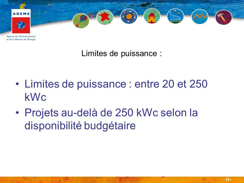 - 13 - Limites de puissance : entre 20 et 250 kWc Projets au-delà de 250 kWc selon la disponibilité budgétaire Limites de puissance :