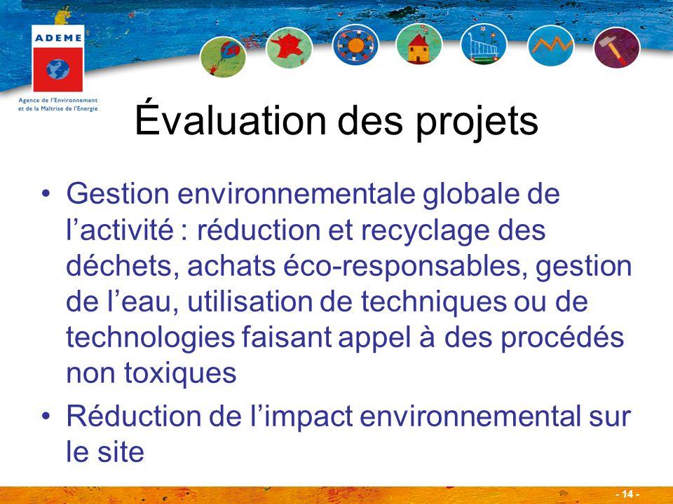 - 14 - Évaluation des projets Gestion environnementale globale de lactivité : réduction et recyclage des déchets, achats éco-responsables, gestion de