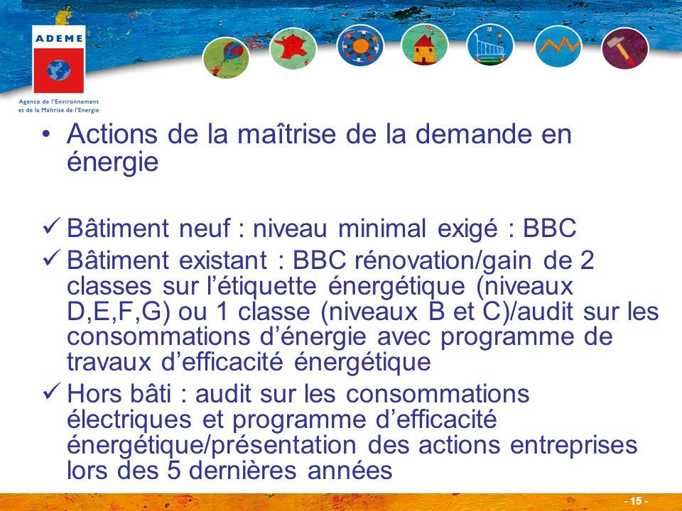 - 15 - Actions de la maîtrise de la demande en énergie Bâtiment neuf : niveau minimal exigé : BBC Bâtiment existant : BBC rénovation/gain de 2 classes