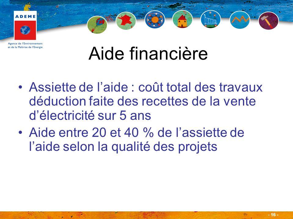 - 16 - Aide financière Assiette de laide : coût total des travaux déduction faite des recettes de la vente délectricité sur 5 ans Aide entre 20 et 40