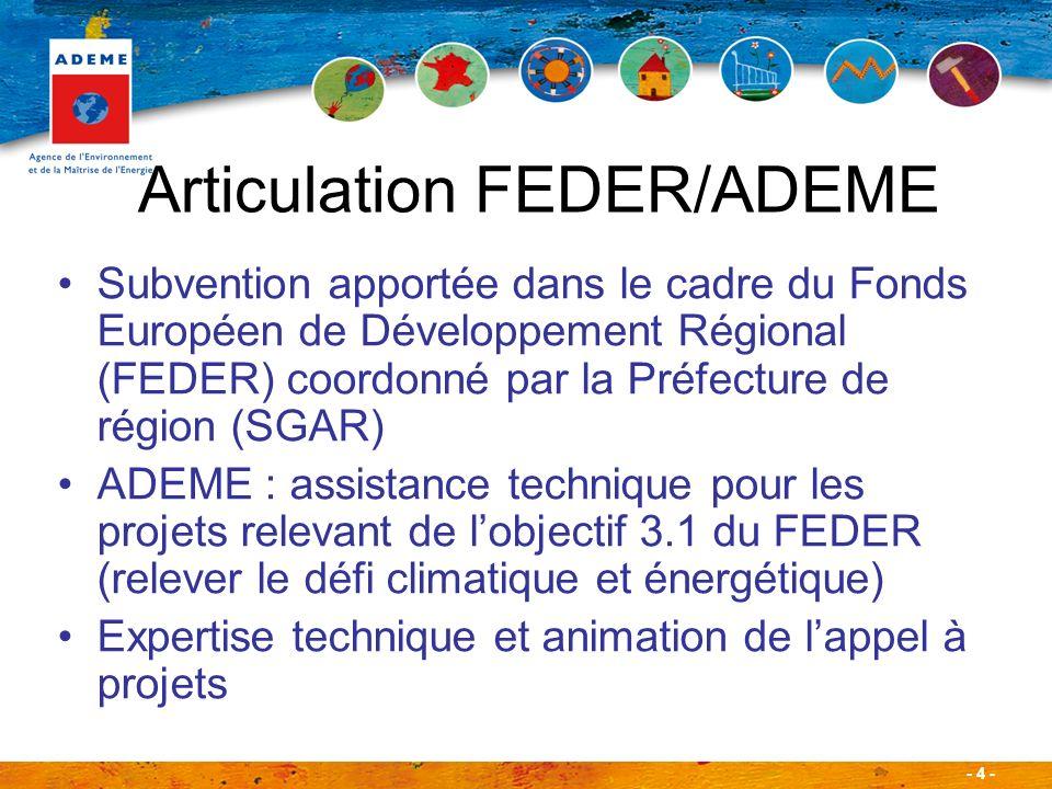 - 4 - Subvention apportée dans le cadre du Fonds Européen de Développement Régional (FEDER) coordonné par la Préfecture de région (SGAR) ADEME : assis