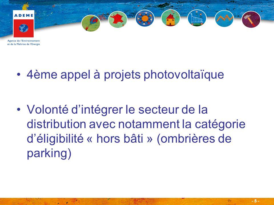 - 5 - 4ème appel à projets photovoltaïque Volonté dintégrer le secteur de la distribution avec notamment la catégorie déligibilité « hors bâti » (ombr
