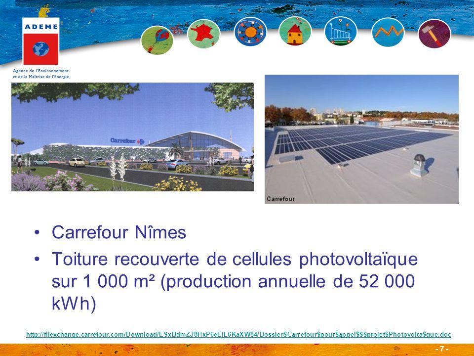- 7 - Carrefour Nîmes Toiture recouverte de cellules photovoltaïque sur 1 000 m² (production annuelle de 52 000 kWh) http://filexchange.carrefour.com/