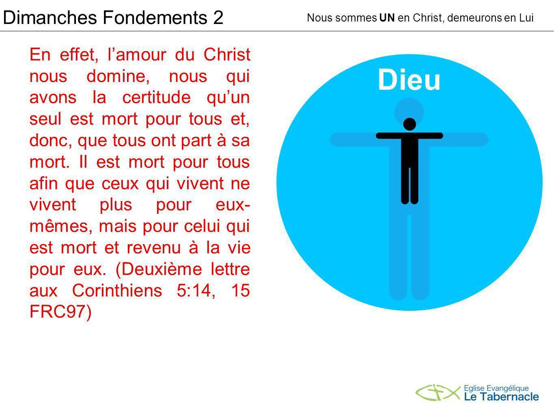Dimanches Fondements 2 Nous sommes UN en Christ, demeurons en Lui En effet, lamour du Christ nous domine, nous qui avons la certitude quun seul est mort pour tous et, donc, que tous ont part à sa mort.