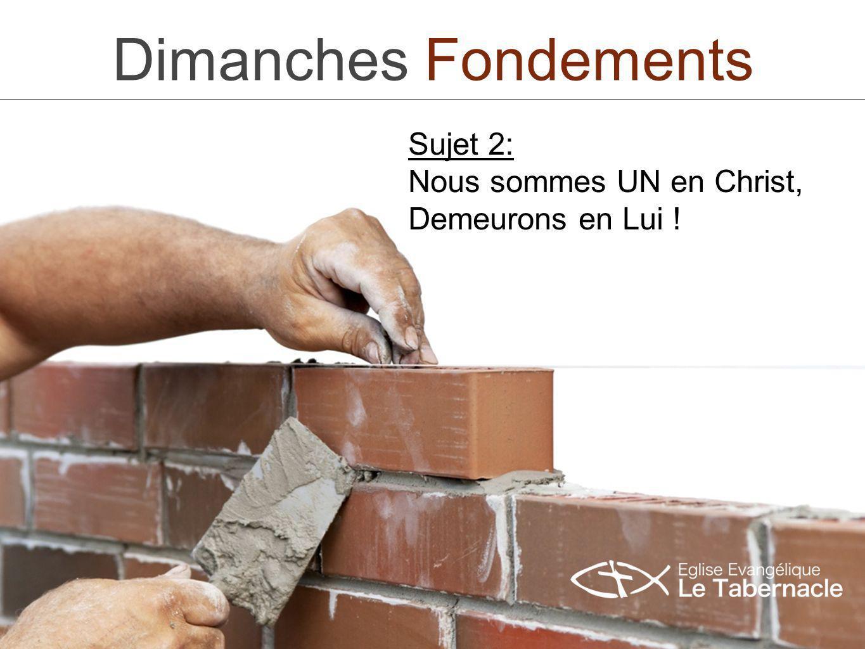 Dimanches Fondements 2 Ce Deuxième dimanche «Fondements» est la continuité du premier.