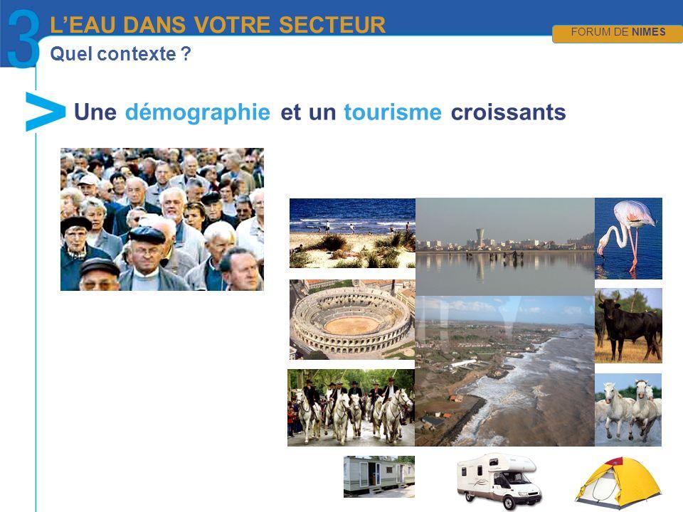 Quel contexte Une démographie et un tourisme croissants LEAU DANS VOTRE SECTEUR FORUM DE NIMES