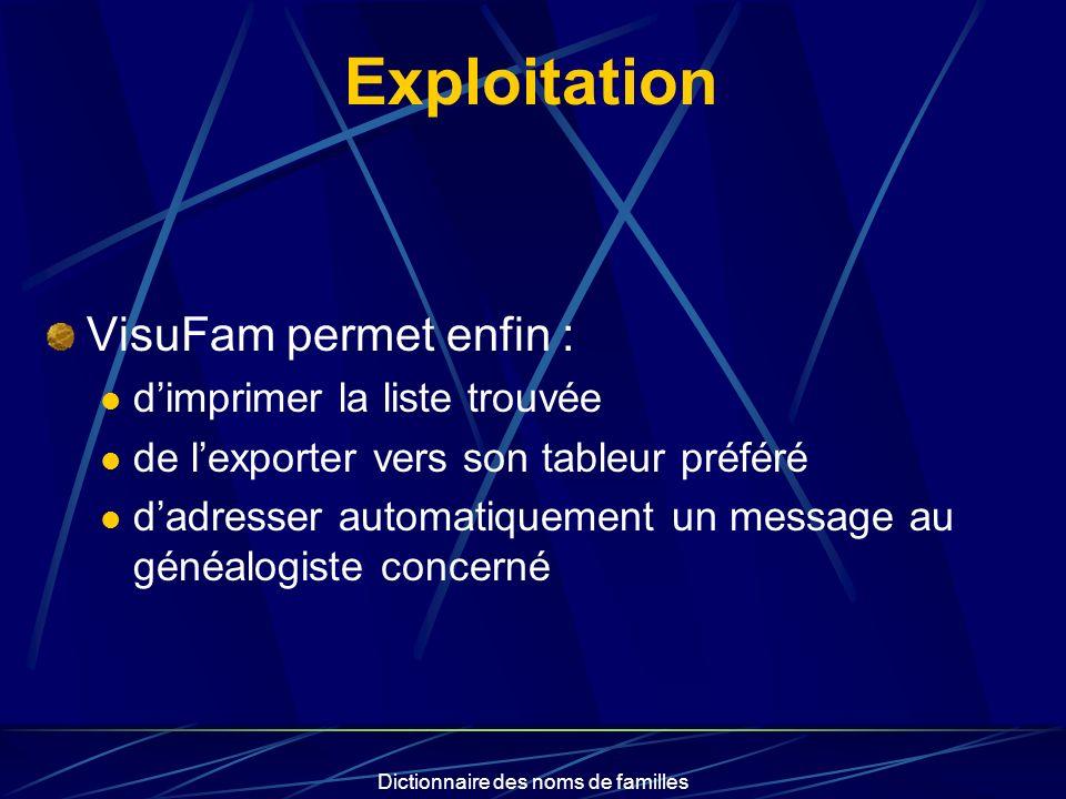 Dictionnaire des noms de familles Exploitation VisuFam permet enfin : dimprimer la liste trouvée de lexporter vers son tableur préféré dadresser autom