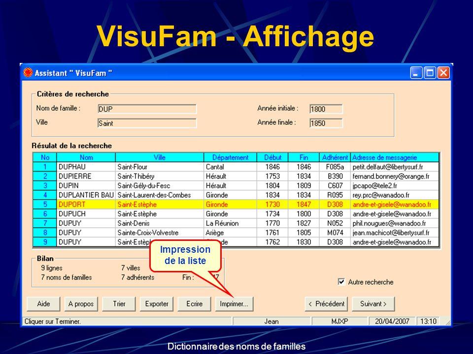 Dictionnaire des noms de familles VisuFam - Affichage Impression de la liste