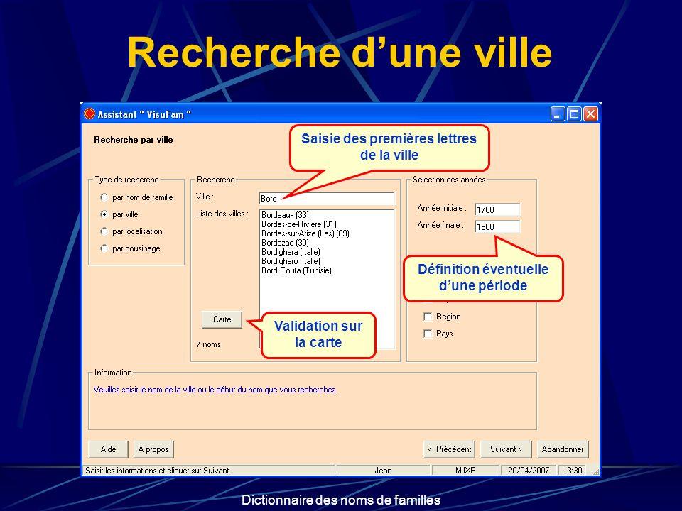 Dictionnaire des noms de familles Recherche dune ville Saisie des premières lettres de la ville Définition éventuelle dune période Validation sur la c