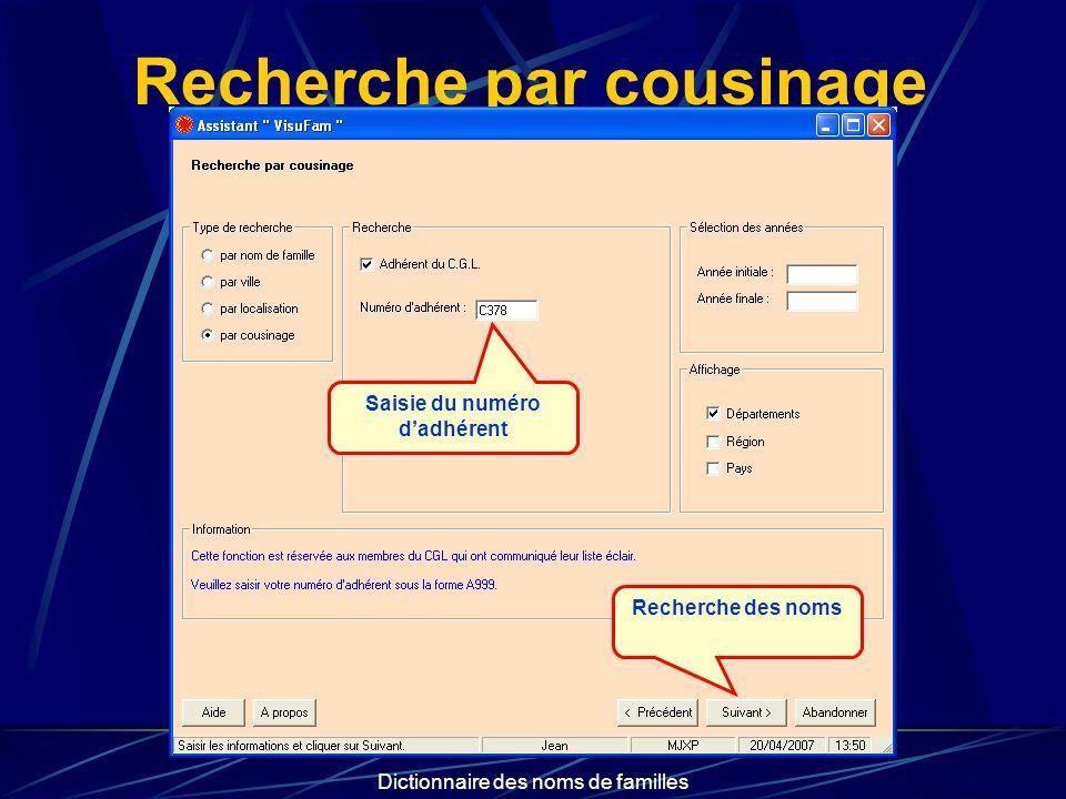 Dictionnaire des noms de familles Recherche par cousinage Saisie du numéro dadhérent Recherche des noms