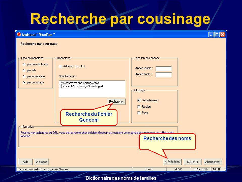 Dictionnaire des noms de familles Recherche par cousinage Recherche du fichier Gedcom Recherche des noms