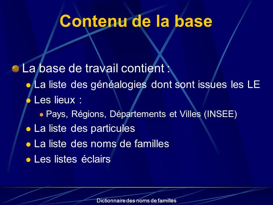 Dictionnaire des noms de familles Contenu de la base La base de travail contient : La liste des généalogies dont sont issues les LE Les lieux : Pays,
