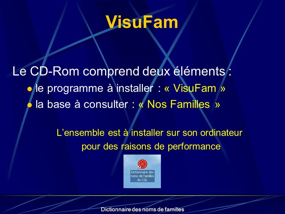 Dictionnaire des noms de familles Les recherches Le logiciel VisuFam permet : de rechercher : par nom de famille par ville par cousinage : pour les adhérents du CGL à partir de la liste présente sur le CD-Rom pour les autres à partir dun fichier Gedcom de sélectionner une plage dannées de définir laffichage des lieux