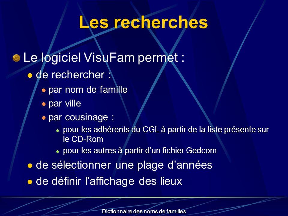 Dictionnaire des noms de familles Résultats