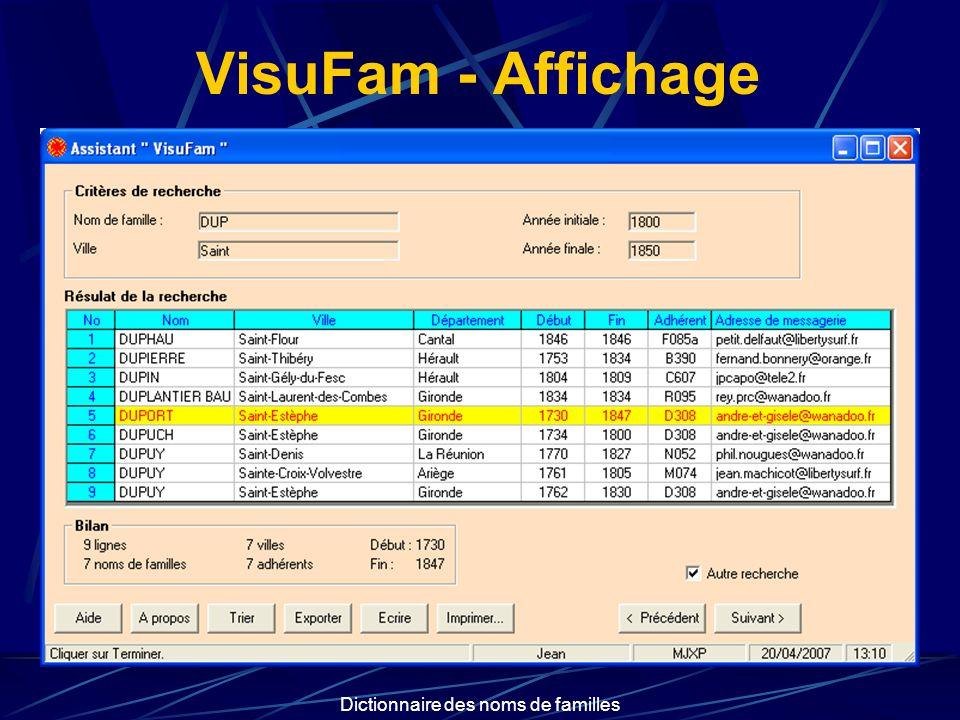 Dictionnaire des noms de familles Exploitation VisuFam permet enfin : dimprimer la liste trouvée de lexporter vers son tableur préféré dadresser automatiquement un message au généalogiste concerné