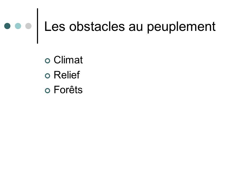 Les obstacles au peuplement Climat Relief Forêts