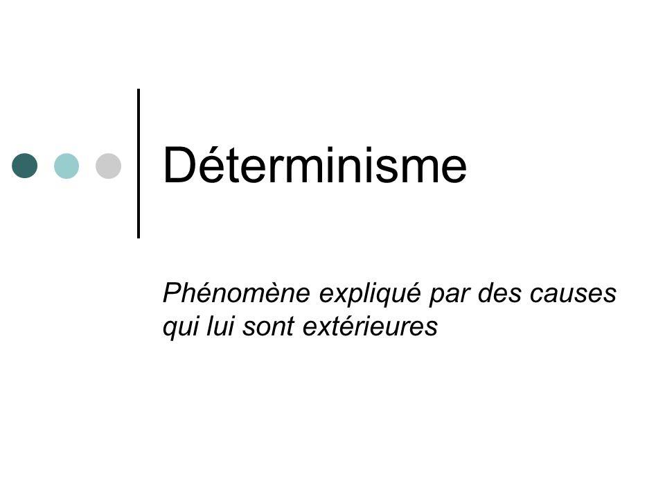 Déterminisme Phénomène expliqué par des causes qui lui sont extérieures