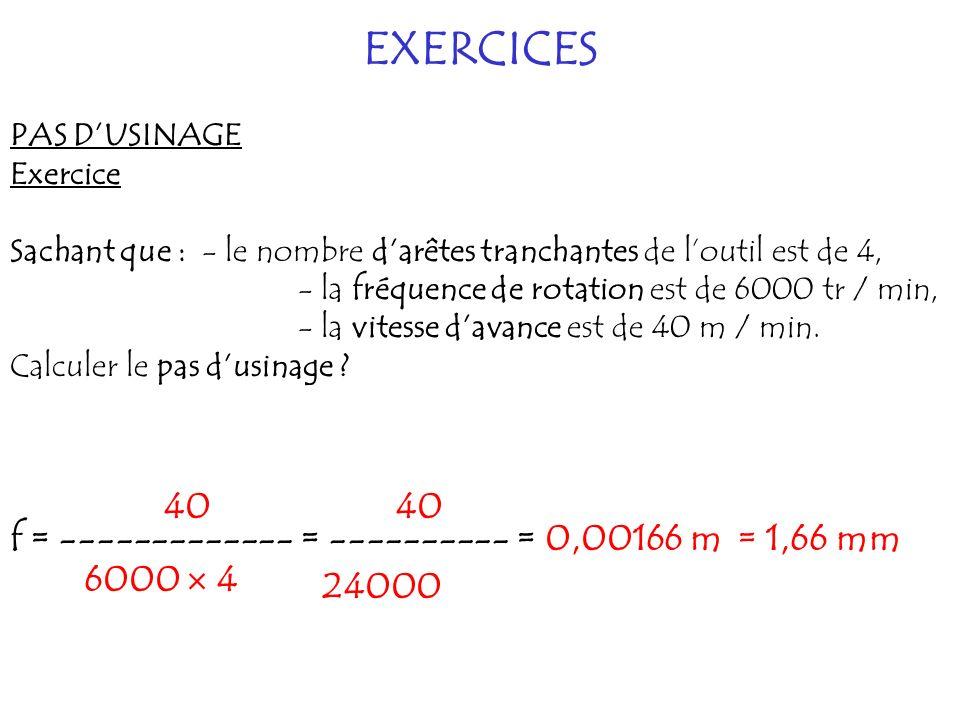 EXERCICES PAS DUSINAGE Exercice Sachant que :- le nombre darêtes tranchantes de loutil est de 4, - la fréquence de rotation est de 6000 tr / min, - la