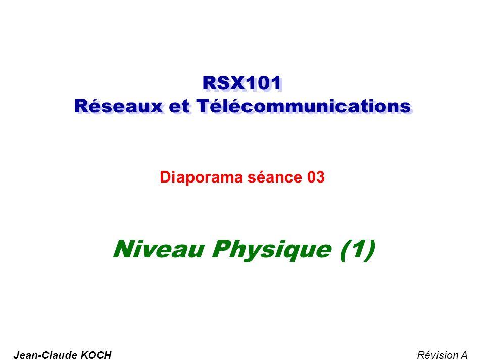 RSX101 Réseaux et Télécommunications Diaporama séance 03 Niveau Physique (1) Révision AJean-Claude KOCH