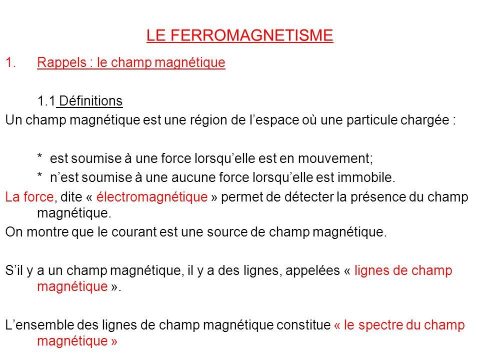 LE FERROMAGNETISME 1.Rappels : le champ magnétique 1.1 Définitions Un champ magnétique est une région de lespace où une particule chargée : * est soum